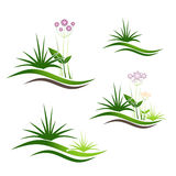 Landschaft Logo Design Set Lizenzfreie Stockfotos