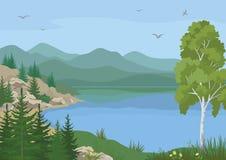 Landschaft mit Bäumen und Mountainsee Lizenzfreies Stockfoto