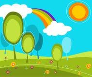 Landschaft mit Bäumen und Sonne Lizenzfreie Stockbilder