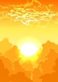 Landschaft mit Bäumen und Wolken vektor abbildung
