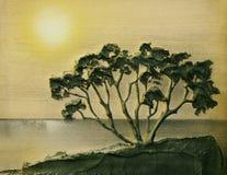 Landschaft mit Baum lizenzfreie abbildung
