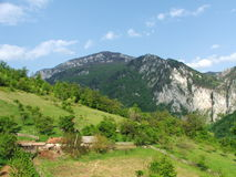Landschaft mit Bergen, Bäumen und Häusern Lizenzfreies Stockbild