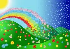 Landschaft mit Blume und Regenbogen Lizenzfreie Stockfotografie