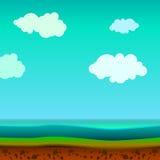 Landschaft mit dem Land und Wasser Stockfotografie