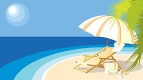 Landschaft mit dem Meer, dem Sonnenruhesessel und der Palme vektor abbildung