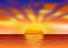 Landschaft mit dem Sonnenuntergang über dem Meer und mit Himmel bevölkert durch Wolken Abbildung lizenzfreies stockbild
