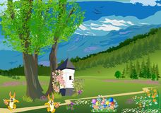 Landschaft mit einem Baum für Ostern, Lizenzfreie Stockfotos