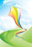 Landschaft mit einem mehrfarbigen Drachen Lizenzfreies Stockbild