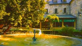 Landschaft mit einem schönen Brunnen in Warschau, Polen - Image2019 lizenzfreies stockbild
