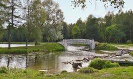 Landschaft mit einer Brücke über dem Fluss Stockbilder
