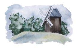 Landschaft mit einer Dorfmühle Konzept von Energie Lizenzfreie Stockfotos