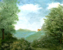 Landschaft mit einsamem Gebäude Lizenzfreie Stockfotos