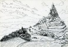 Landschaft mit Fantasieschloss Stockfoto
