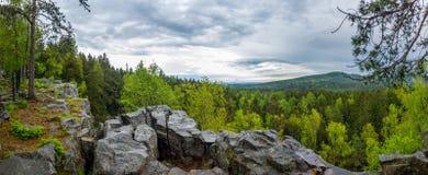 Landschaft mit Felsen im Wald Lizenzfreies Stockbild