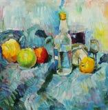 Landschaft mit Fluss und Wald Stillleben mit Flasche und Äpfeln Lizenzfreies Stockbild