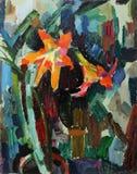 Landschaft mit Fluss und Wald Stillleben mit mit Blumen Stockfoto