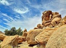 Landschaft mit Flusssteinen Stockbilder