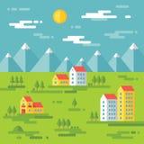 Landschaft mit Gebäuden - vector Hintergrundillustration im flachen Artdesign Gebäude auf grünem Hintergrund Grundbesitz? Häuser, Stockfotografie