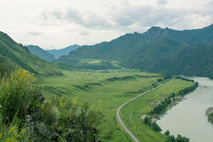 Landschaft mit Gebirgsbäumen und einem Fluss Lizenzfreies Stockfoto