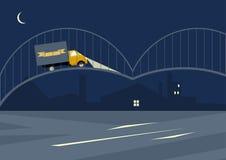 Landschaft mit gelbem Lastwagen Lizenzfreie Stockfotografie