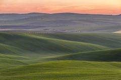 Landschaft mit grünen Hügeln Stockfotografie