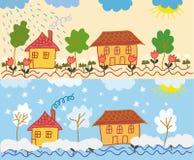 Landschaft mit Häusern Stockbilder