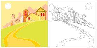 Landschaft mit Häusern Stockfotografie