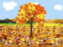 Landschaft mit Herbstlaub Lizenzfreie Stockbilder