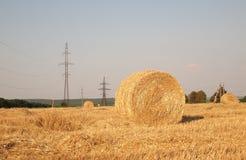 Landschaft mit Heurolle Stockbild