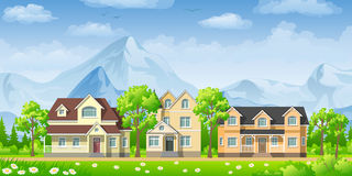 Landschaft mit klassischen Häusern Stockfotos