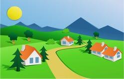 Landschaft mit kleinem Dorf stock abbildung