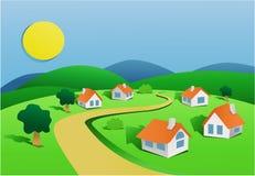 Landschaft mit kleinem Dorf lizenzfreie abbildung