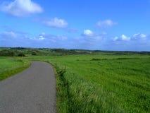 Landschaft mit landwirtschaftlicher Straße lizenzfreies stockfoto
