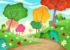 Landschaft mit mehrfarbigen Bäumen Stockfotos