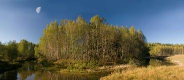 Landschaft mit Mond Lizenzfreie Stockfotos