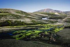 Landschaft mit Moos in Island Gebirgstourismus und vulkanische sind Lizenzfreie Stockfotografie