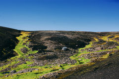Landschaft mit Moos in Island Gebirgstourismus und vulkanische sind Stockfotos