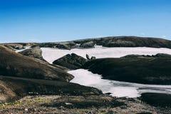 Landschaft mit Moos und Schnee in Island Die Freude am Sieg und an der Freiheit Lizenzfreies Stockbild