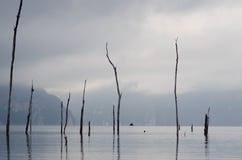 Landschaft mit nebeligem See und Berg stockfotos