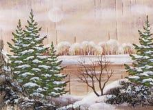 Landschaft mit Pelzbäumen und See Lizenzfreies Stockbild