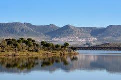 Landschaft mit Reflexionen im Reservoir lizenzfreie stockbilder