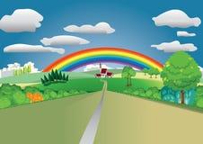 Landschaft mit Regenbogen Stockfotos