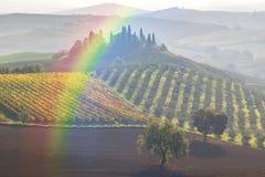 Landschaft mit Regenbogen und Garten Lizenzfreie Stockbilder