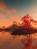 Landschaft mit rotem Baum Stockbilder