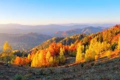 Landschaft mit schönen Bergen, Feldern und Wäldern Der Rasen wird durch die Sonnenstrahlen erleuchtet Fantastischer Herbsttag stockfotografie