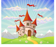 Landschaft mit Schloss und Bergen Lizenzfreies Stockbild