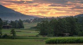 Landschaft mit Sonnenuntergang Stockfoto