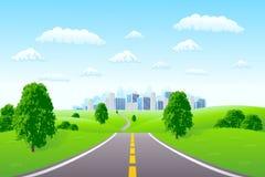 Landschaft mit Stadt Lizenzfreies Stockfoto