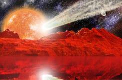 Landschaft mit Stern und Meteoritdurchfahrt Lizenzfreies Stockbild