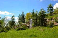 Landschaft mit Wasserfall. Lizenzfreie Stockbilder